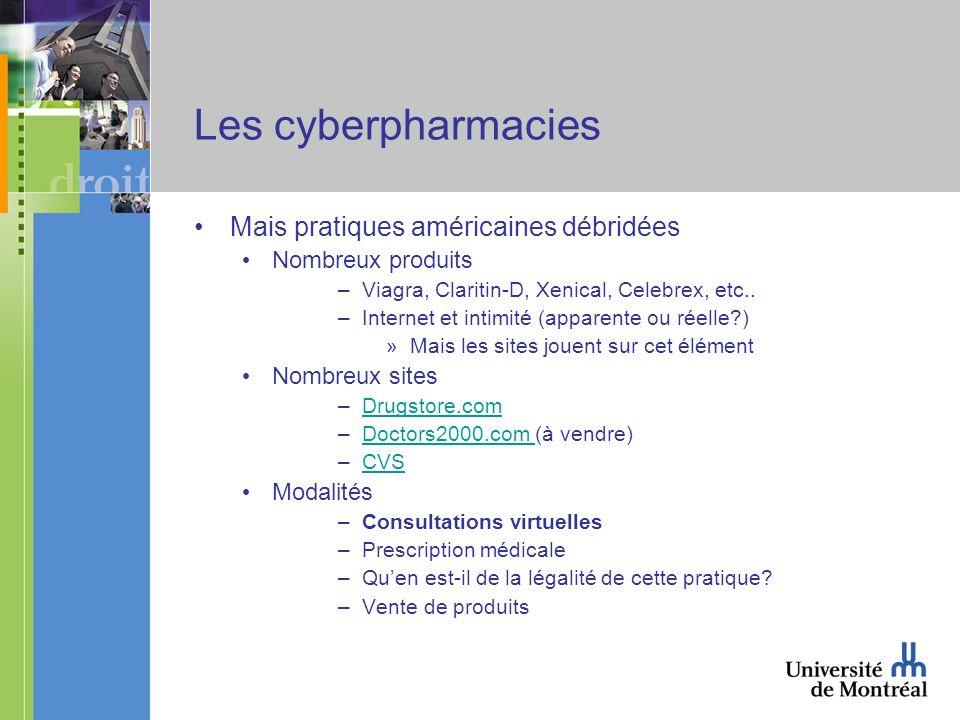 Les cyberpharmacies Mais pratiques américaines débridées Nombreux produits –Viagra, Claritin-D, Xenical, Celebrex, etc..