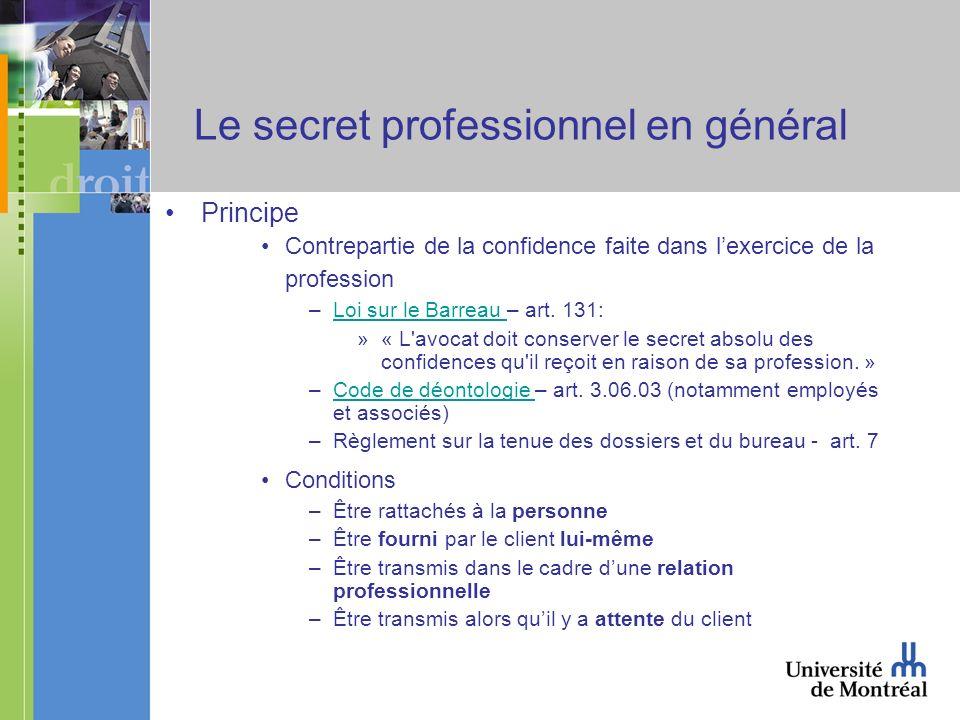 Le secret professionnel en général Principe Contrepartie de la confidence faite dans lexercice de la profession –Loi sur le Barreau – art.