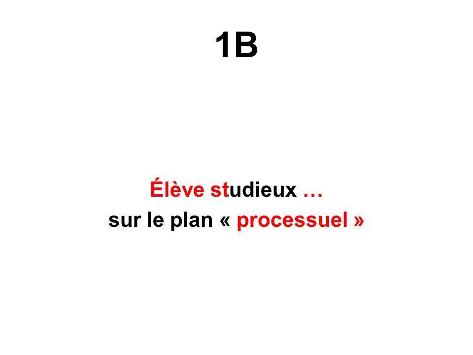 1B Élève studieux … sur le plan « processuel »