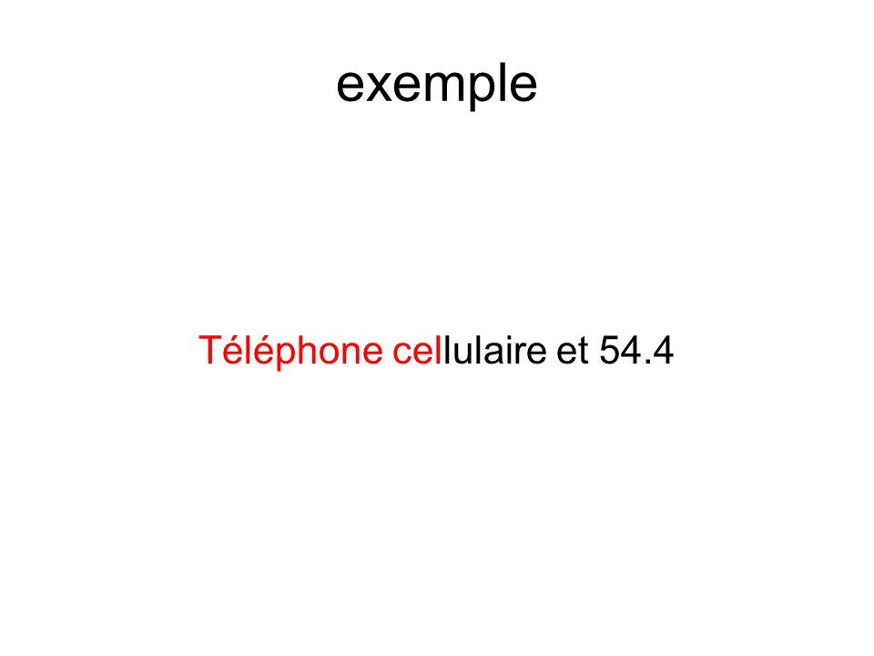 exemple Téléphone cellulaire et 54.4