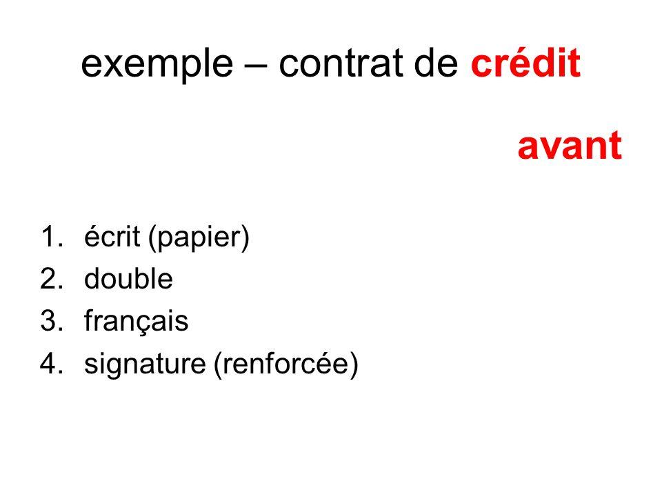 exemple – contrat de crédit avant 1.écrit (papier) 2.double 3.français 4.signature (renforcée)