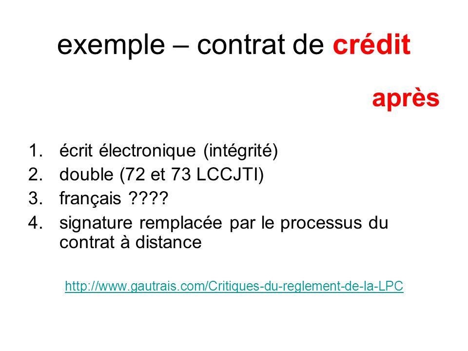 exemple – contrat de crédit après 1.écrit électronique (intégrité) 2.double (72 et 73 LCCJTI) 3.français .