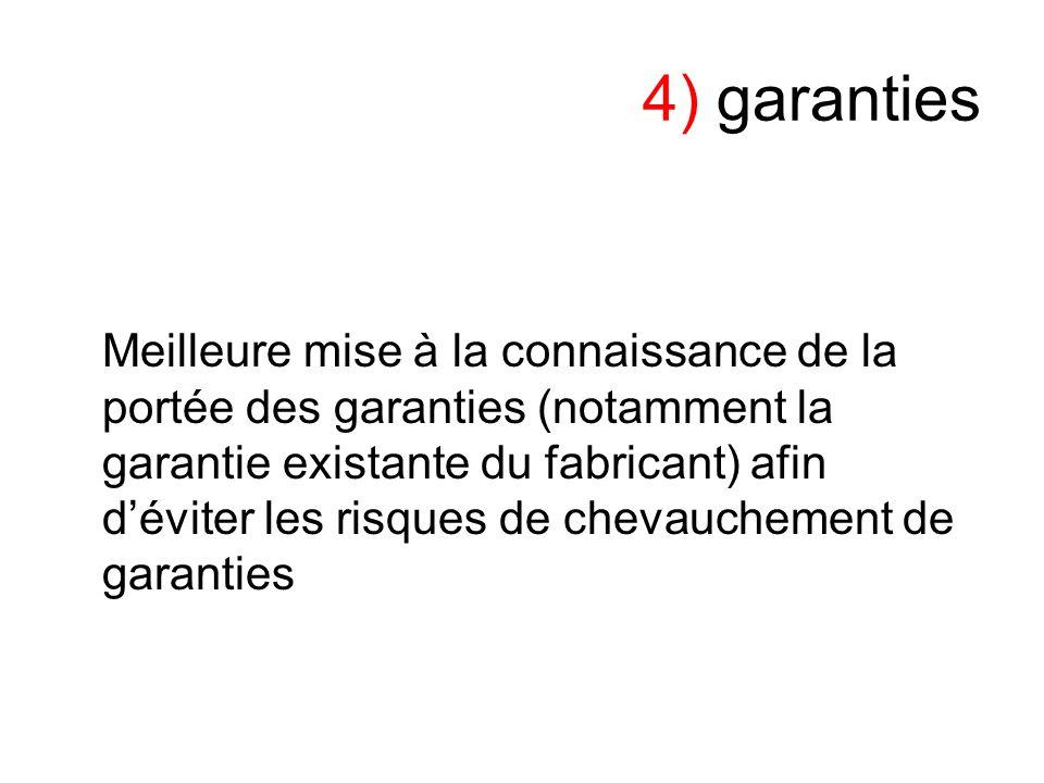4) garanties Meilleure mise à la connaissance de la portée des garanties (notamment la garantie existante du fabricant) afin déviter les risques de chevauchement de garanties
