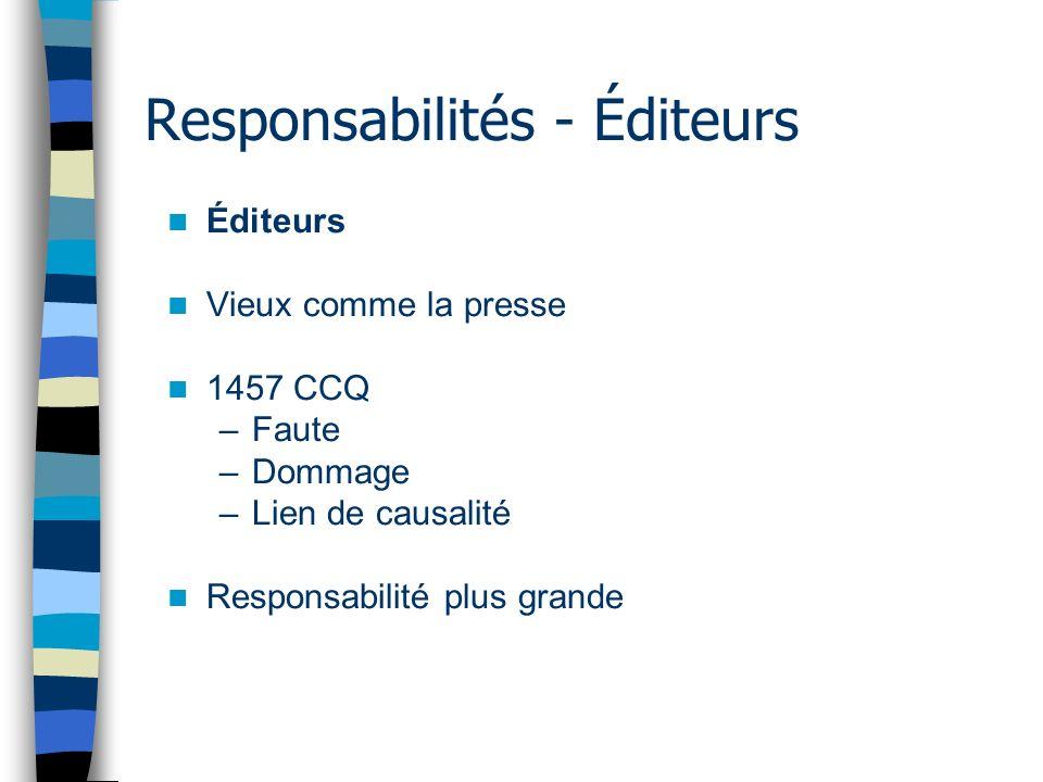 Responsabilités - Éditeurs Éditeurs Vieux comme la presse 1457 CCQ –Faute –Dommage –Lien de causalité Responsabilité plus grande