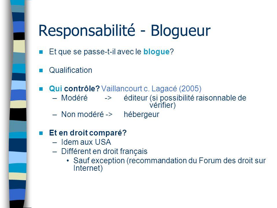 Responsabilité - Blogueur Et que se passe-t-il avec le blogue? Qualification Qui contrôle? Vaillancourt c. Lagacé (2005) –Modéré -> éditeur (si possib