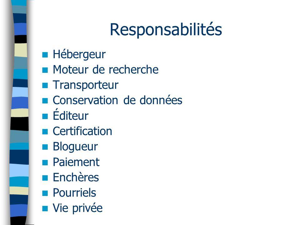 Responsabilités Hébergeur Moteur de recherche Transporteur Conservation de données Éditeur Certification Blogueur Paiement Enchères Pourriels Vie priv