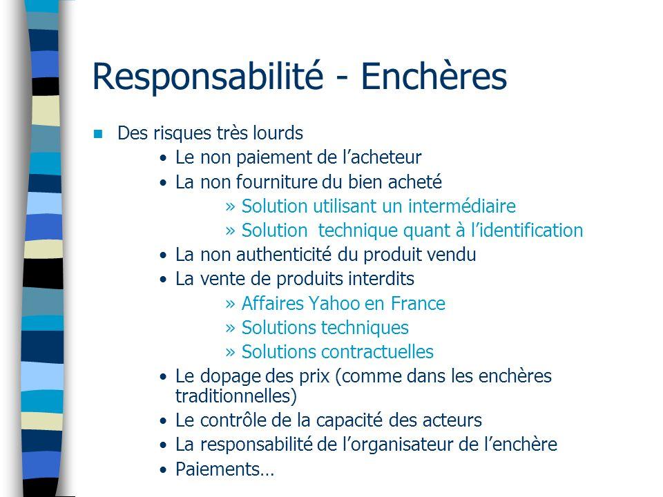 Responsabilité - Enchères Des risques très lourds Le non paiement de lacheteur La non fourniture du bien acheté »Solution utilisant un intermédiaire »