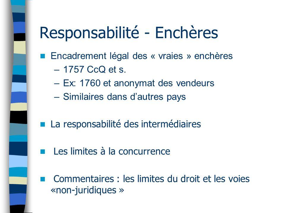 Responsabilité - Enchères Encadrement légal des « vraies » enchères –1757 CcQ et s. –Ex: 1760 et anonymat des vendeurs –Similaires dans dautres pays L