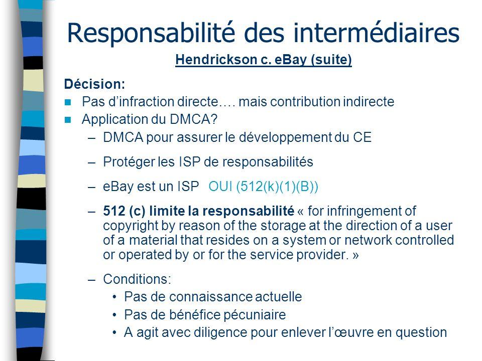 Responsabilité des intermédiaires Hendrickson c. eBay (suite) Décision: Pas dinfraction directe…. mais contribution indirecte Application du DMCA? –DM