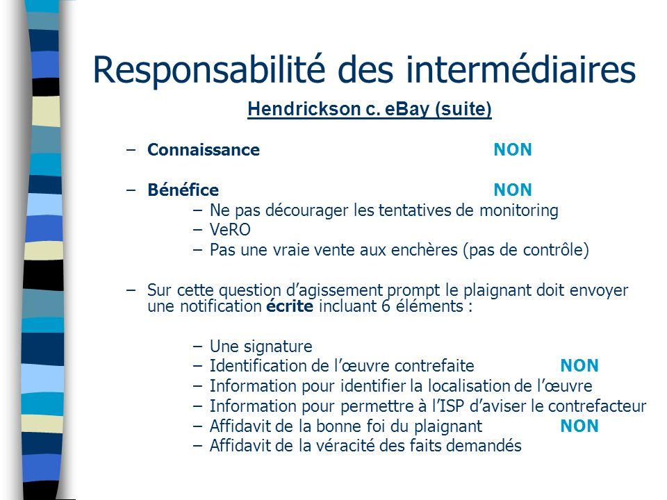 Responsabilité des intermédiaires Hendrickson c. eBay (suite) –ConnaissanceNON –Bénéfice NON –Ne pas décourager les tentatives de monitoring –VeRO –Pa