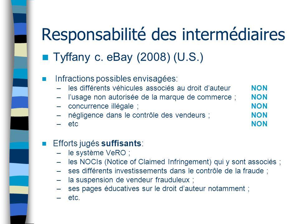 Responsabilité des intermédiaires Tyffany c. eBay (2008) (U.S.) Infractions possibles envisagées: – les différents véhicules associés au droit dauteur