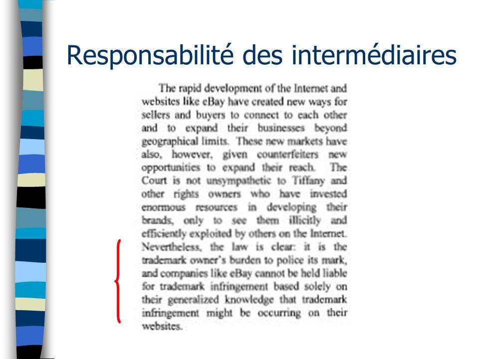Responsabilité des intermédiaires