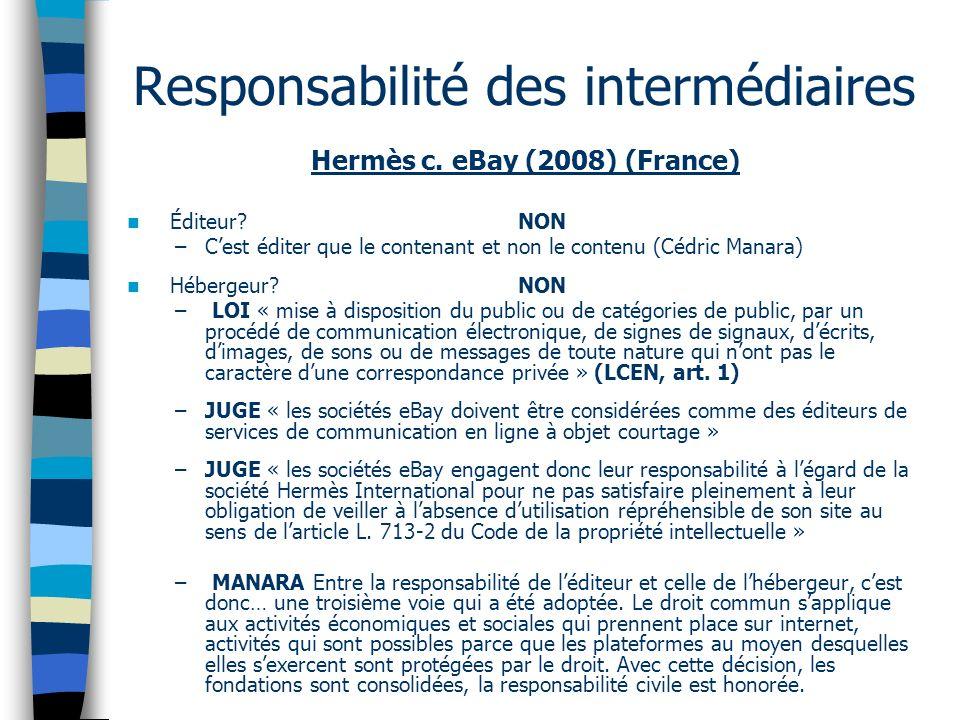 Hermès c. eBay (2008) (France) Éditeur? NON –Cest éditer que le contenant et non le contenu (Cédric Manara) Hébergeur? NON – LOI « mise à disposition
