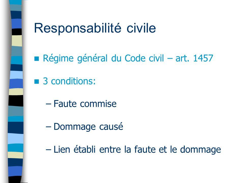 Responsabilité civile Régime général du Code civil – art. 1457 3 conditions: –Faute commise –Dommage causé –Lien établi entre la faute et le dommage
