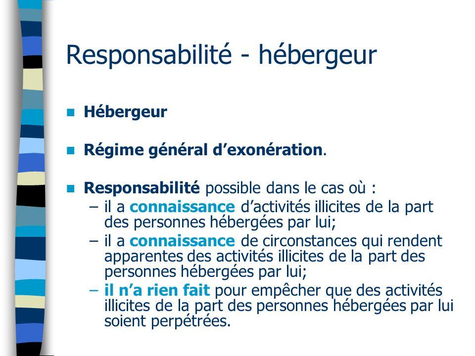 Responsabilité - hébergeur Hébergeur Régime général dexonération. Responsabilité possible dans le cas où : –il a connaissance dactivités illicites de