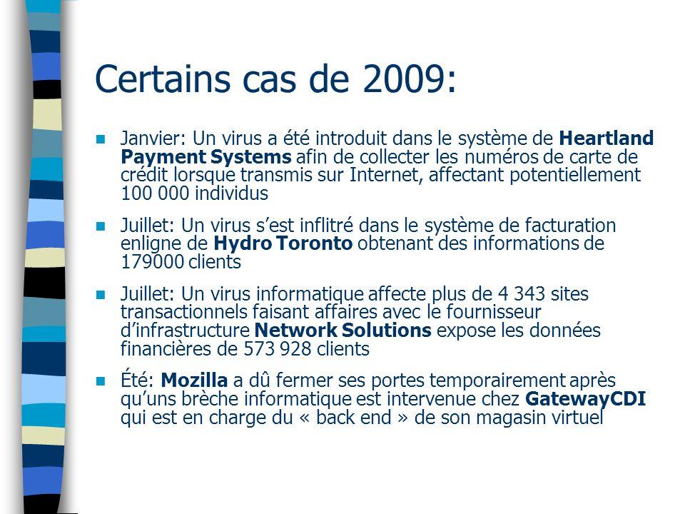 Certains cas de 2009: Janvier: Un virus a été introduit dans le système de Heartland Payment Systems afin de collecter les numéros de carte de crédit