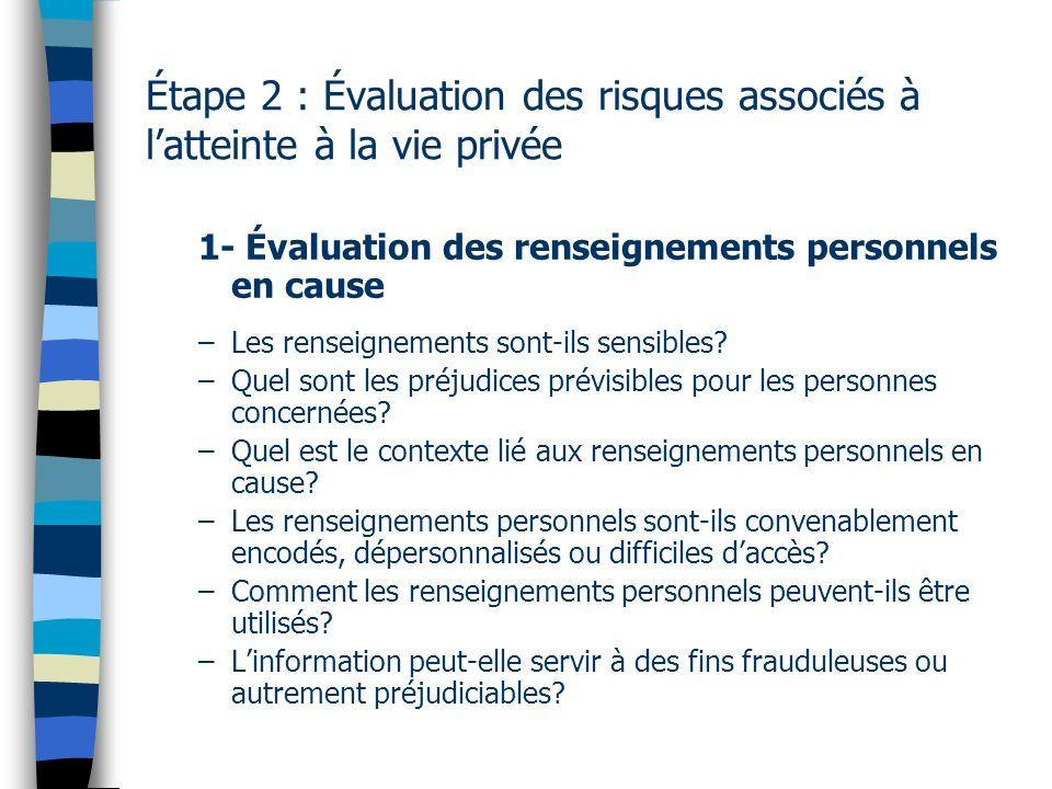 Étape 2 : Évaluation des risques associés à latteinte à la vie privée 1- Évaluation des renseignements personnels en cause –Les renseignements sont il
