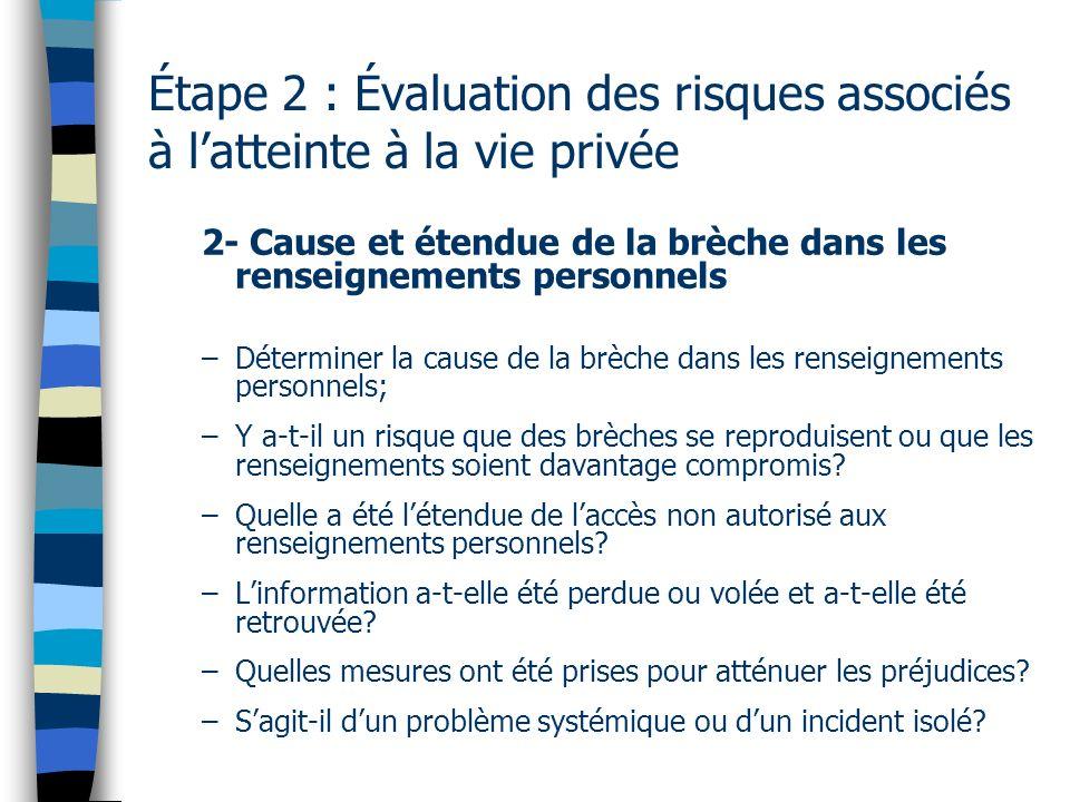 Étape 2 : Évaluation des risques associés à latteinte à la vie privée 2- Cause et étendue de la brèche dans les renseignements personnels –Déterminer