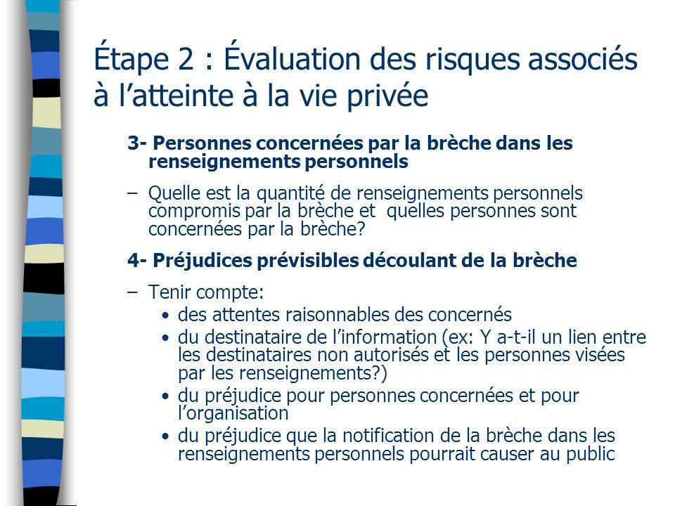 Étape 2 : Évaluation des risques associés à latteinte à la vie privée 3- Personnes concernées par la brèche dans les renseignements personnels –Quelle