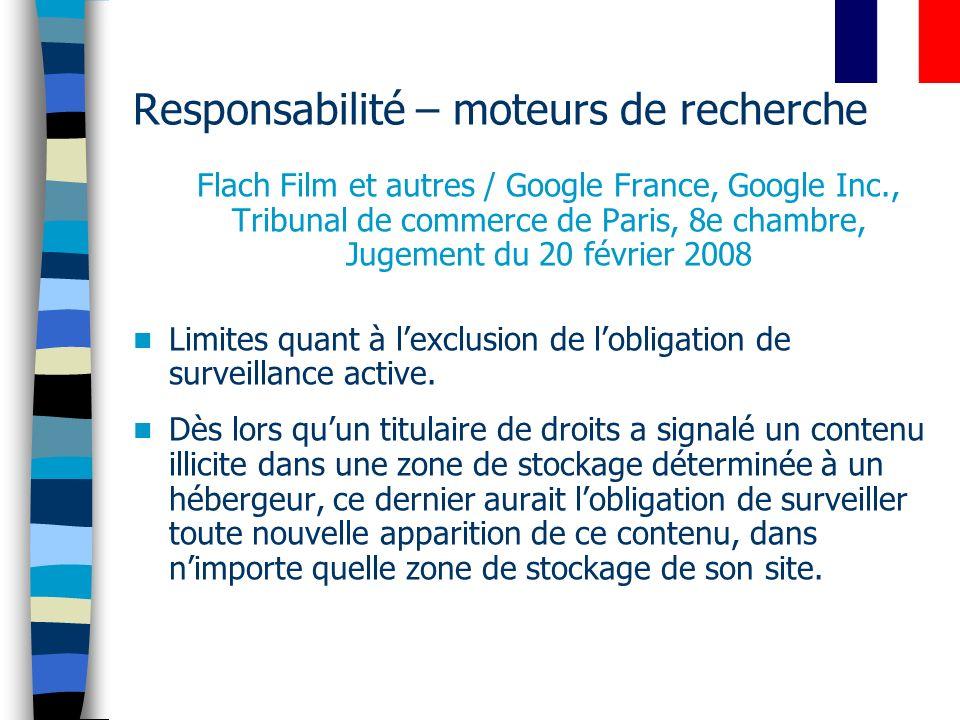 Responsabilité – moteurs de recherche Flach Film et autres / Google France, Google Inc., Tribunal de commerce de Paris, 8e chambre, Jugement du 20 fév