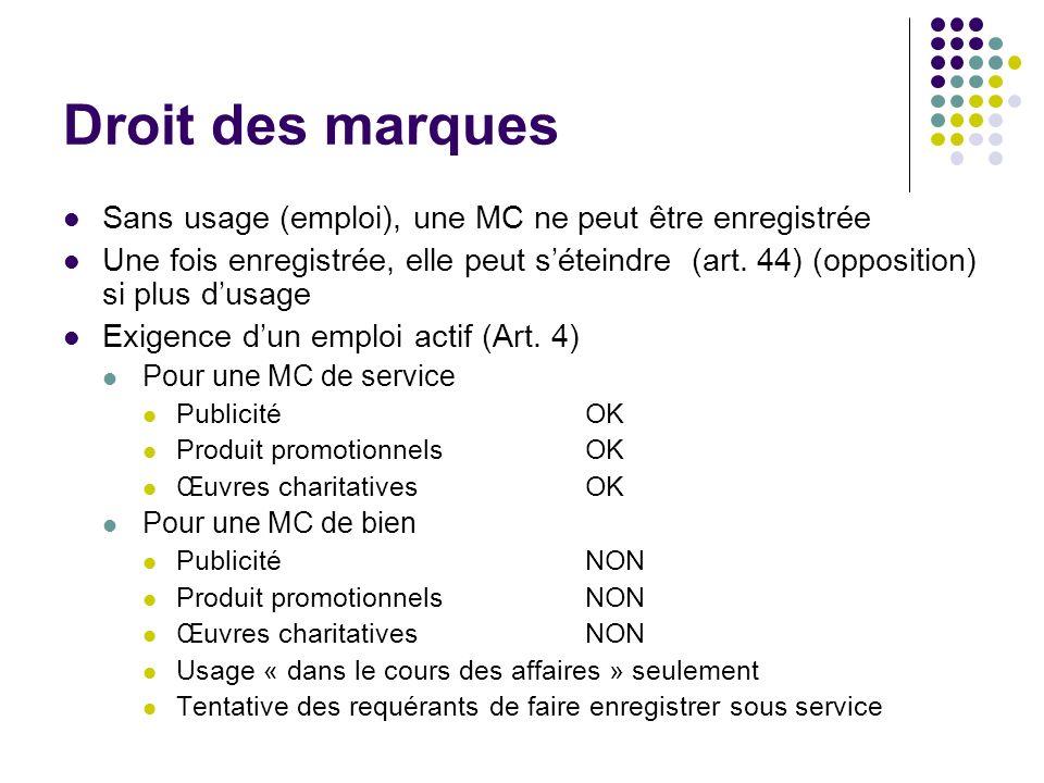 Droit des marques Sans usage (emploi), une MC ne peut être enregistrée Une fois enregistrée, elle peut séteindre (art. 44) (opposition) si plus dusage