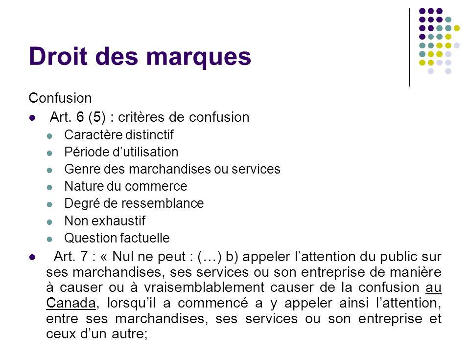Droit des marques Confusion Art. 6 (5) : critères de confusion Caractère distinctif Période dutilisation Genre des marchandises ou services Nature du