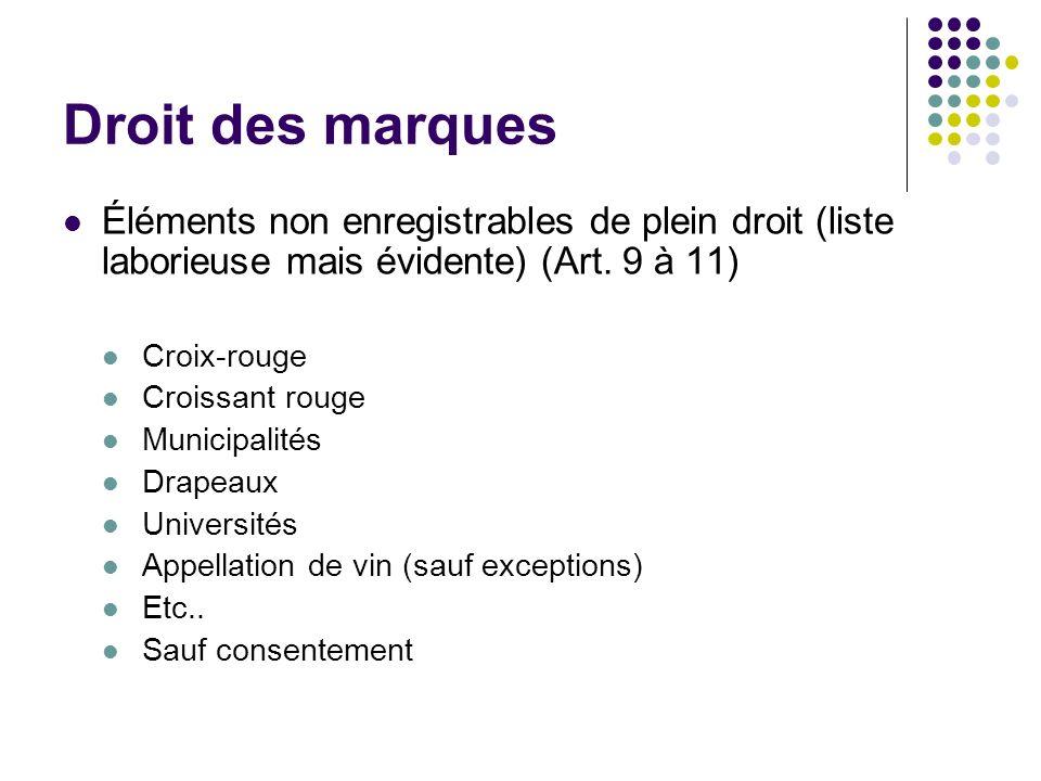 Droit des marques Éléments non enregistrables de plein droit (liste laborieuse mais évidente) (Art. 9 à 11) Croix-rouge Croissant rouge Municipalités