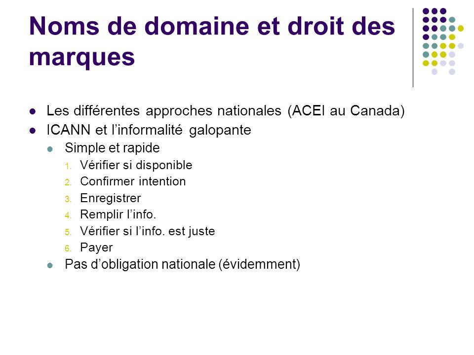 Noms de domaine et droit des marques Les différentes approches nationales (ACEI au Canada) ICANN et linformalité galopante Simple et rapide 1. Vérifie