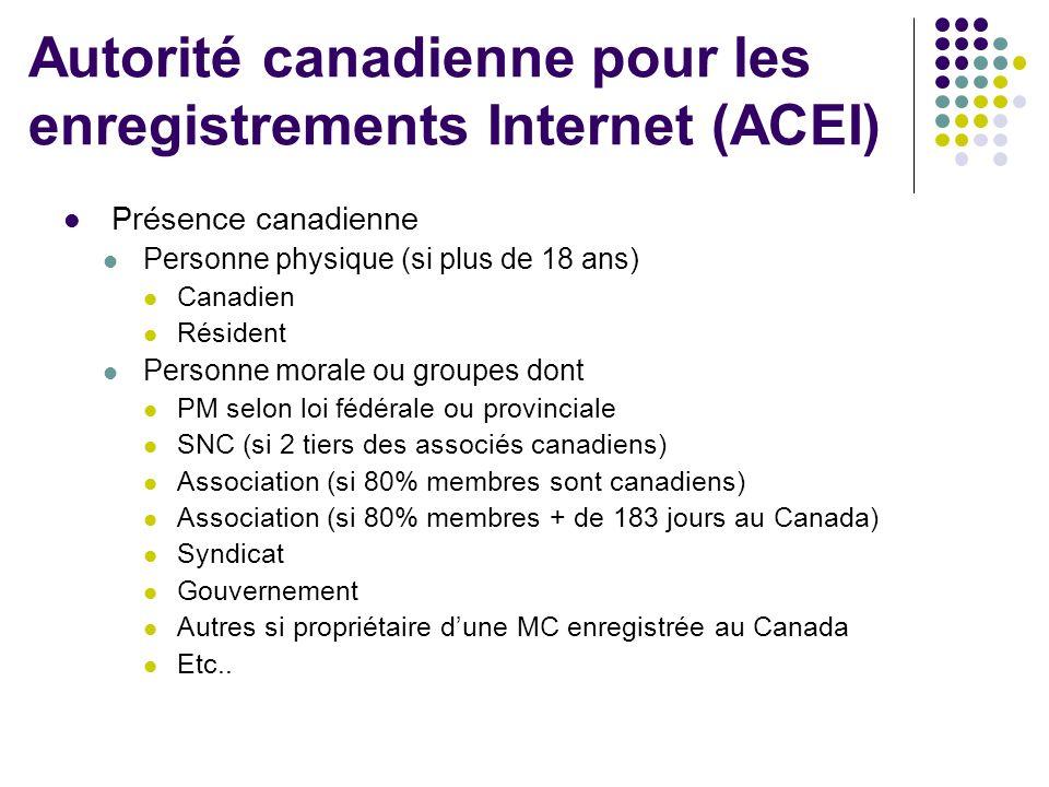 Présence canadienne Personne physique (si plus de 18 ans) Canadien Résident Personne morale ou groupes dont PM selon loi fédérale ou provinciale SNC (