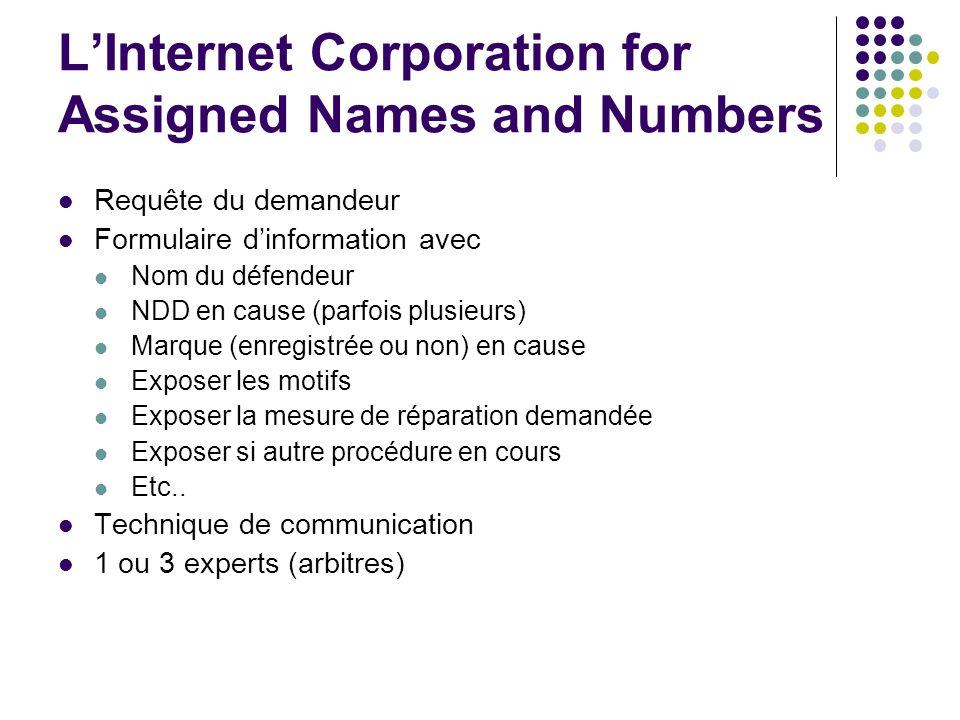 Requête du demandeur Formulaire dinformation avec Nom du défendeur NDD en cause (parfois plusieurs) Marque (enregistrée ou non) en cause Exposer les m