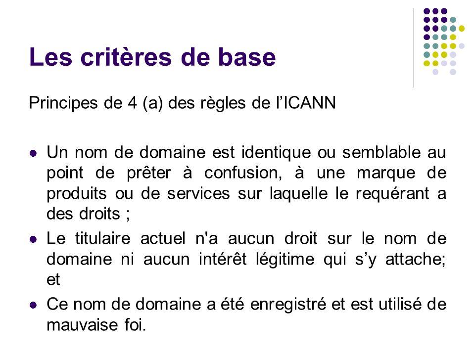 Les critères de base Principes de 4 (a) des règles de lICANN Un nom de domaine est identique ou semblable au point de prêter à confusion, à une marque