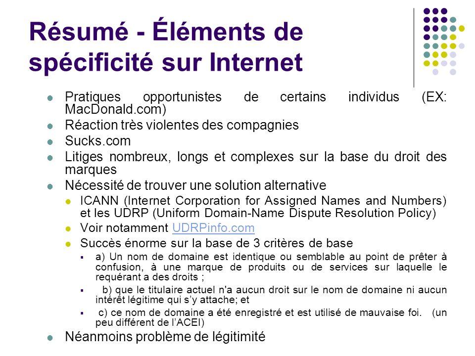 Résumé - Éléments de spécificité sur Internet Pratiques opportunistes de certains individus (EX: MacDonald.com) Réaction très violentes des compagnies