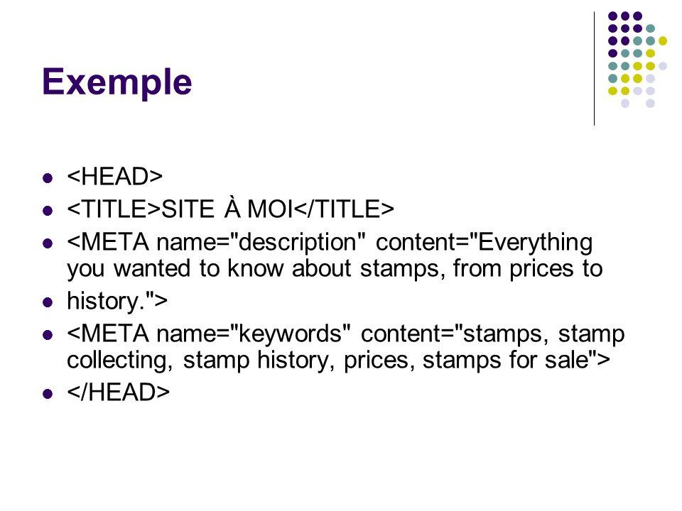 Exemple SITE À MOI <META name=