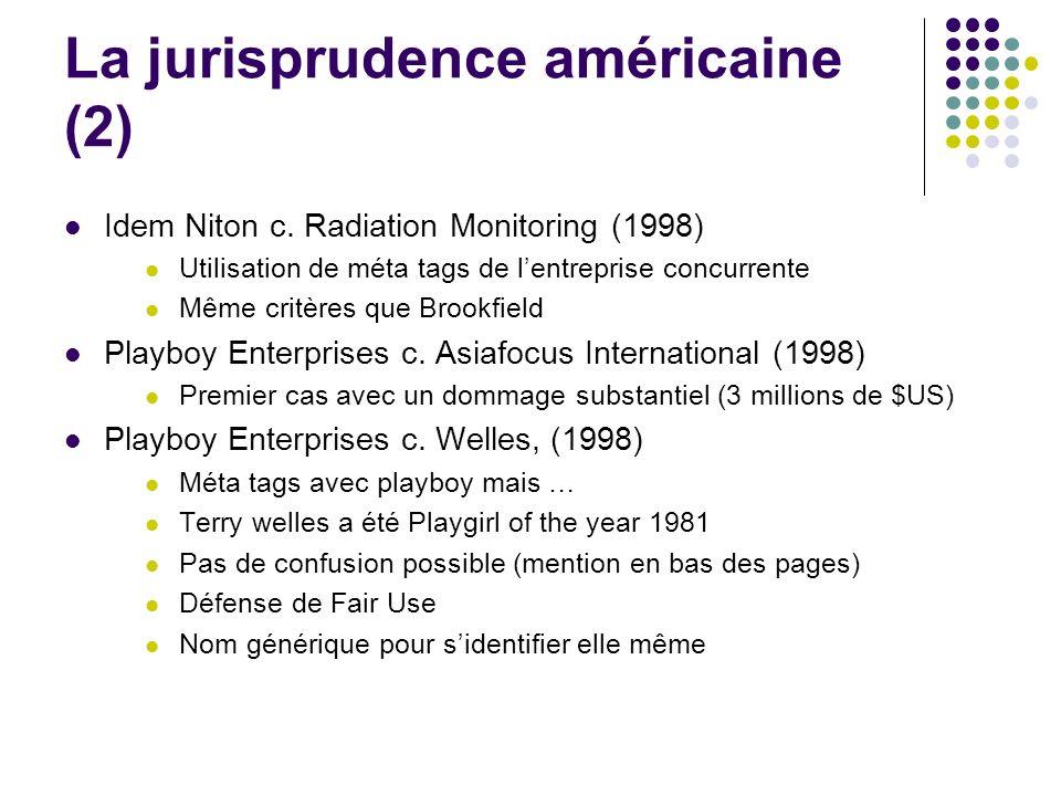 La jurisprudence américaine (2) Idem Niton c. Radiation Monitoring (1998) Utilisation de méta tags de lentreprise concurrente Même critères que Brookf