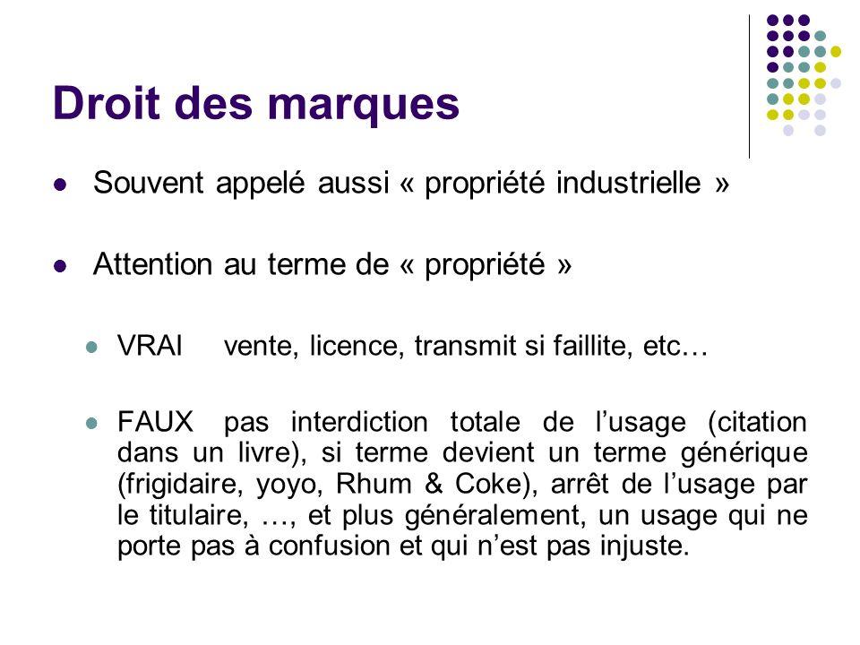 Droit des marques Souvent appelé aussi « propriété industrielle » Attention au terme de « propriété » VRAI vente, licence, transmit si faillite, etc…
