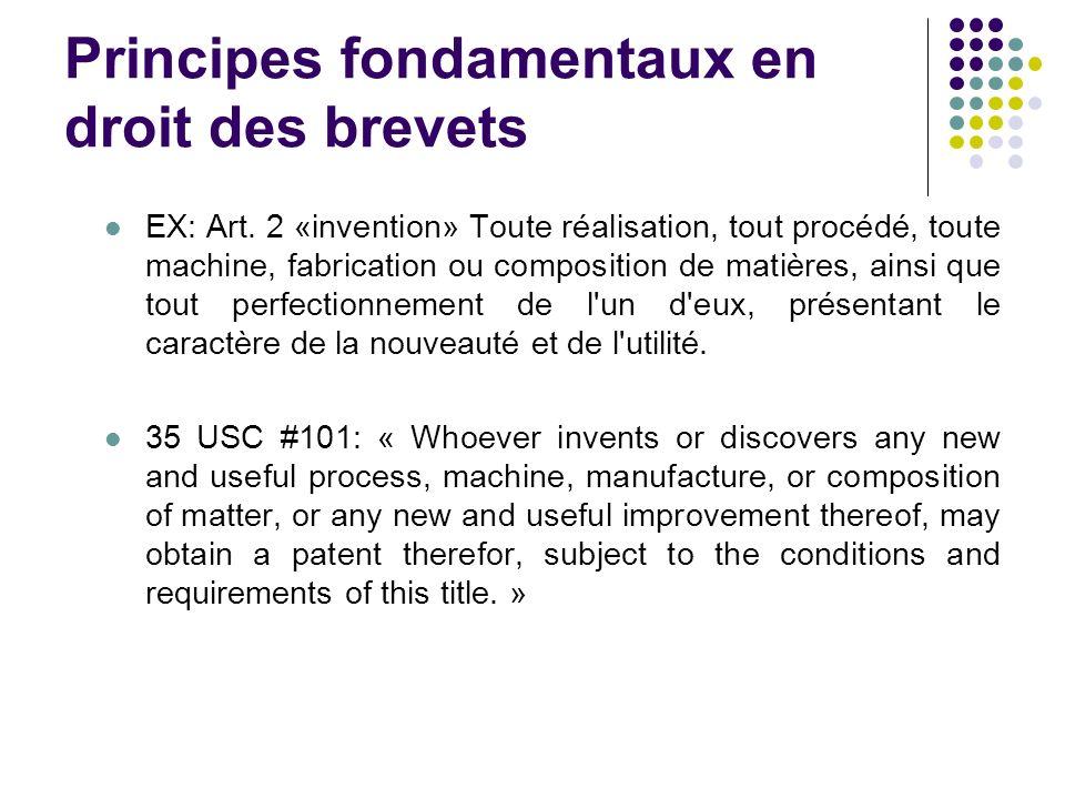 Principes fondamentaux en droit des brevets EX: Art. 2 «invention» Toute réalisation, tout procédé, toute machine, fabrication ou composition de matiè