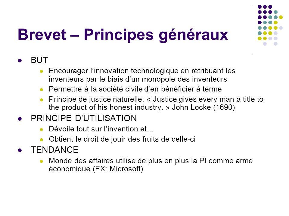 Brevet – Principes généraux BUT Encourager linnovation technologique en rétribuant les inventeurs par le biais dun monopole des inventeurs Permettre à