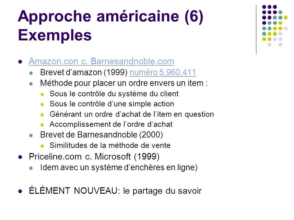 Approche américaine (6) Exemples Amazon.con c. Barnesandnoble.com Brevet damazon (1999) numéro 5,960,411numéro 5,960,411 Méthode pour placer un ordre