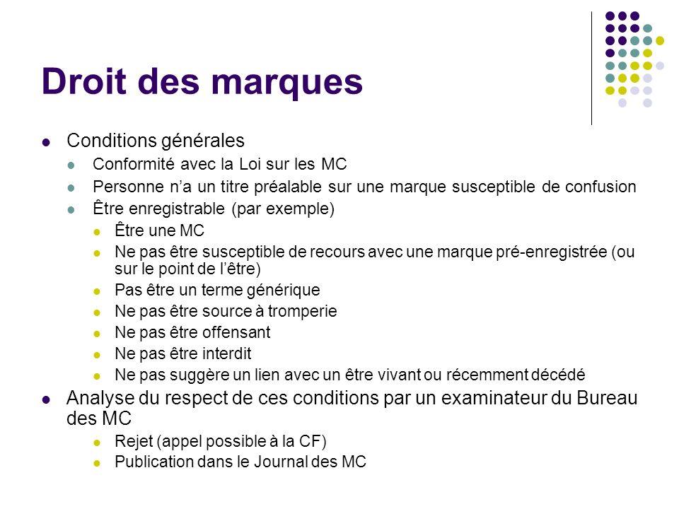 Droit des marques Conditions générales Conformité avec la Loi sur les MC Personne na un titre préalable sur une marque susceptible de confusion Être e