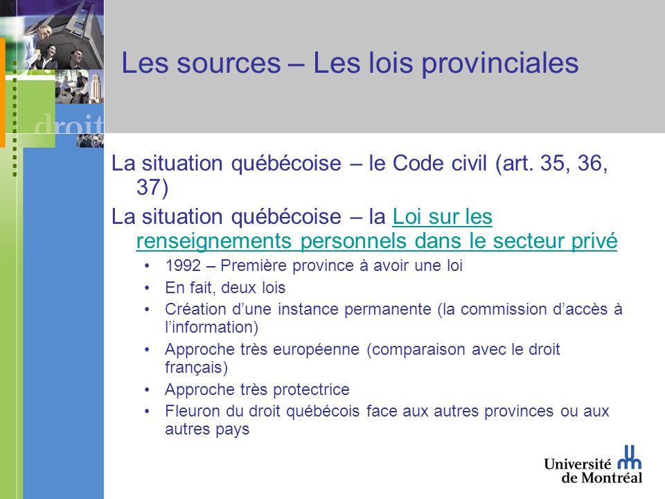 Les sources – Les lois provinciales La situation québécoise – le Code civil (art. 35, 36, 37) La situation québécoise – la Loi sur les renseignements