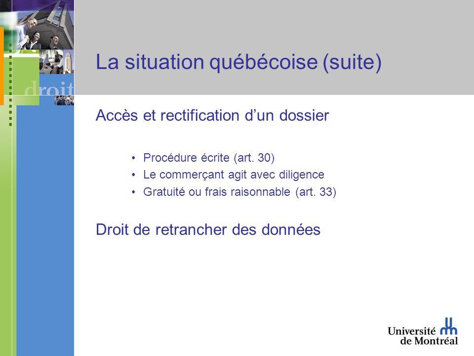 La situation québécoise (suite) Accès et rectification dun dossier Procédure écrite (art. 30) Le commerçant agit avec diligence Gratuité ou frais rais