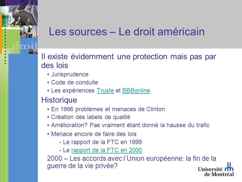 Les sources – Le droit américain Il existe évidemment une protection mais pas par des lois Jurisprudence Code de conduite Les expériences Truste et BB