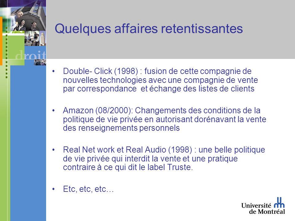 Quelques affaires retentissantes Double- Click (1998) : fusion de cette compagnie de nouvelles technologies avec une compagnie de vente par correspond