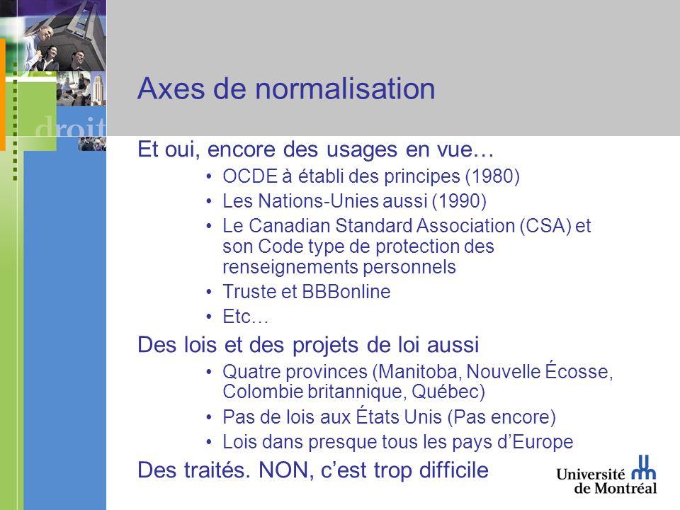 Axes de normalisation Et oui, encore des usages en vue… OCDE à établi des principes (1980) Les Nations-Unies aussi (1990) Le Canadian Standard Associa