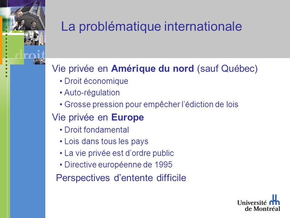 La problématique internationale Vie privée en Amérique du nord (sauf Québec) Droit économique Auto-régulation Grosse pression pour empêcher lédiction