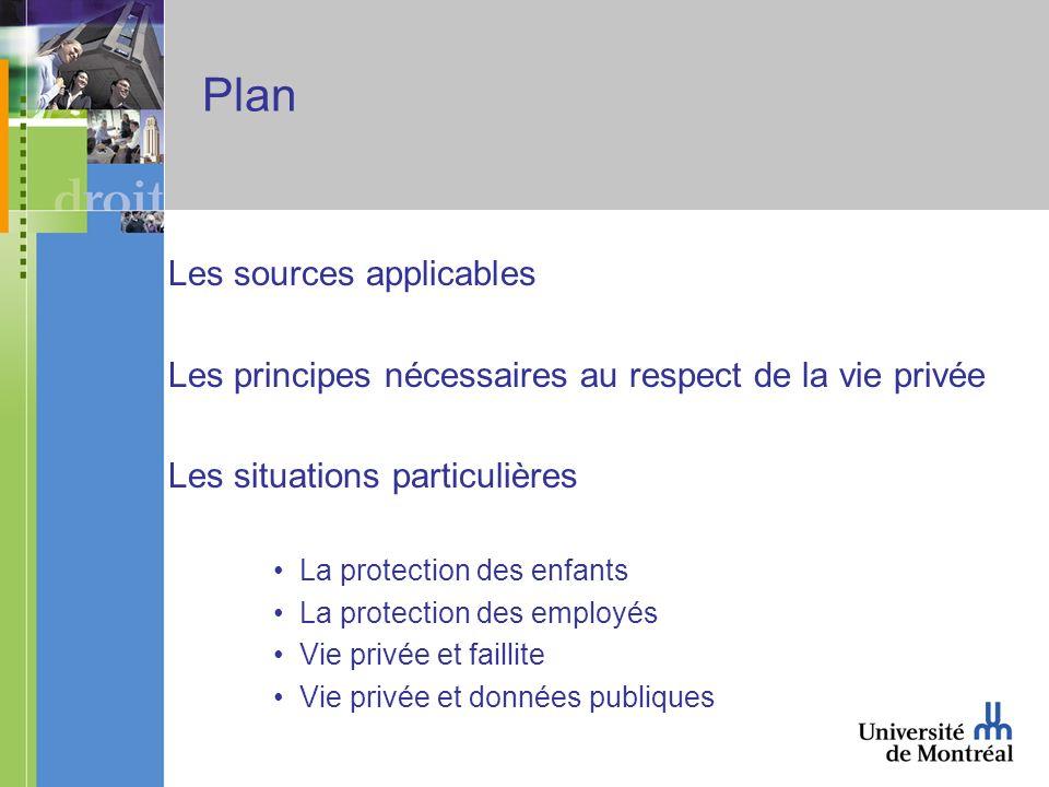 Plan Les sources applicables Les principes nécessaires au respect de la vie privée Les situations particulières La protection des enfants La protectio