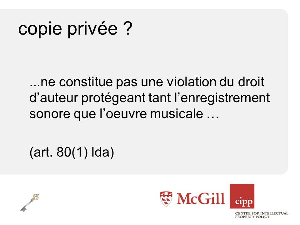 copie privée ...ne constitue pas une violation du droit dauteur protégeant tant lenregistrement sonore que loeuvre musicale … (art.