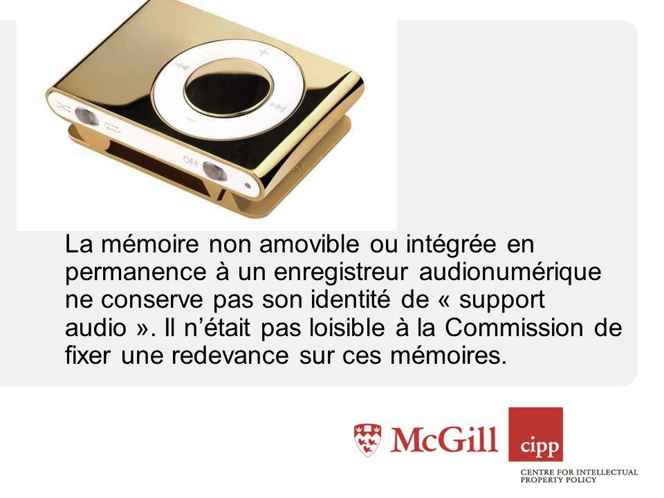 La mémoire non amovible ou intégrée en permanence à un enregistreur audionumérique ne conserve pas son identité de « support audio ».