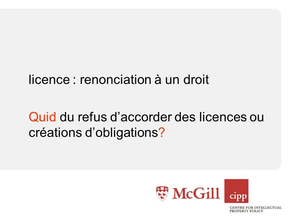 licence : renonciation à un droit Quid du refus daccorder des licences ou créations dobligations