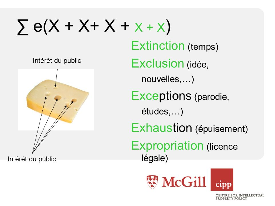 e(X + X+ X + X + X ) Extinction (temps) Exclusion (idée, nouvelles,…) Exceptions (parodie, études,…) Exhaustion (épuisement) Expropriation (licence légale) Intérêt du public